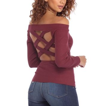 Burgundy Strap Back Knit Top