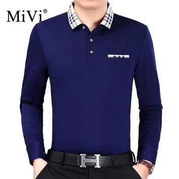 MiVi Brand 2017 Casual Plaid Collar Men's Long Sleeve Polo Shirt Pocket Male Shirts Mens Polo Breathable Men Polo Shirt XXXL