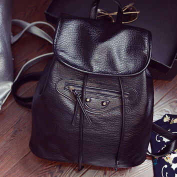 On Sale College Comfort Hot Deal Back To School Stylish Casual Rinsed Denim Leather Korean Ladies Backpack [6582286215]