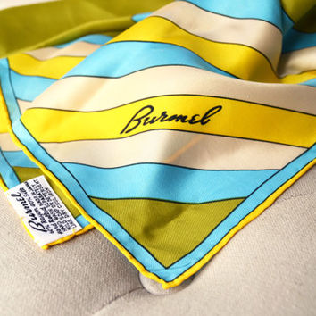 1960s Burmel Silk Scarf in Turquoise, Olive and Yellow