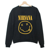 Dmart7dealAutumn Casual Sweatshirt Women Long Sleeve Harajuku NIRVANA Smile Print Women Tops felpe donna Plus Size S-3XL QA1052