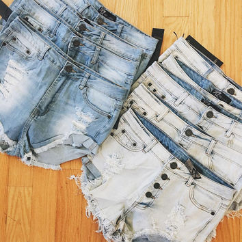 Karley Distressed Button Fly Shorts