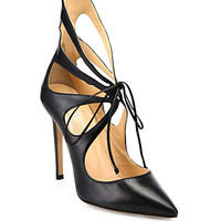Mariposa Leather Tie-Up Pumps