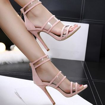 Sexy transparent high-heeled fish-mouth sandals transparent film sandals shoes pink