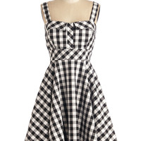 Pull Up a Cherry Dress in Black Gingham | Mod Retro Vintage Dresses | ModCloth.com