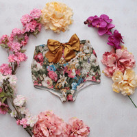 YOUTH / Floral lycra and oversized bow panties / Ready to ship