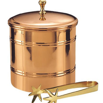 6.25 Dia. x 7 H. Décor Copper Lined Ice Bucket w/Brass 7.25 Tongs 3 Qt
