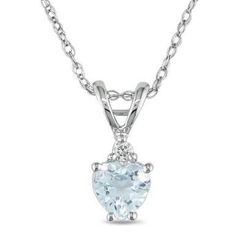5.0mm Heart-Shaped Aquamarine Pendant in 10K White Gold with Diamond Accent - 17