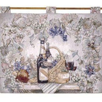 Wall Tapestry - Picnic Wine And Cheese Motif