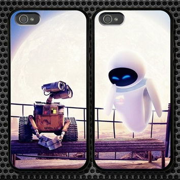 Wall-E and Eve iPhone 5 4/4S Samsung Galaxy S3 S2 S3 Mini Hard Plastic Glossy Couple Cases 0007