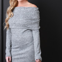 Marled Knit Off-The-Shoulder Bodycon Mini Dress