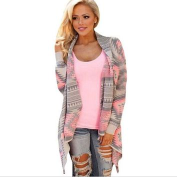 Women's Aztec Print Long Sleeved Cardigans