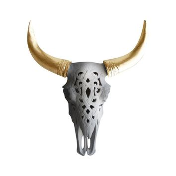 The Ledoux | Large Carved Cow Skull | Faux Taxidermy | White + Gold Horns Resin
