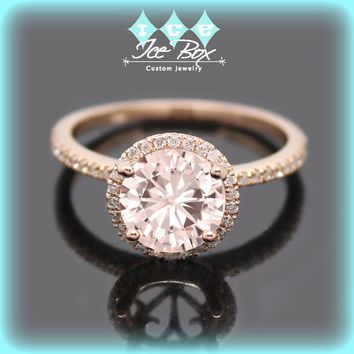 Pink Moissanite Engagement Ring 1.5ct Round Peach Pink Moissanite in a 14k Rose Gold Diamond Halo Setting - Nice Morganite alternative