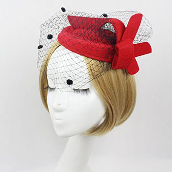 Vimans Women's Fascinator Wool Felt Red Pillbox Hat Cocktail Party Wedding Veil