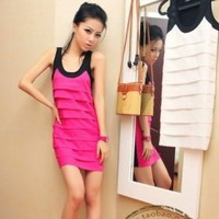 Color Matching Montage Sleeveless Slim Dress Rose