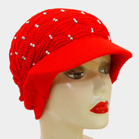 Studded Knit Visor Cap