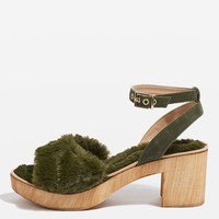 VINNIE Faux Fur Footbed Sandals - Heels - Shoes