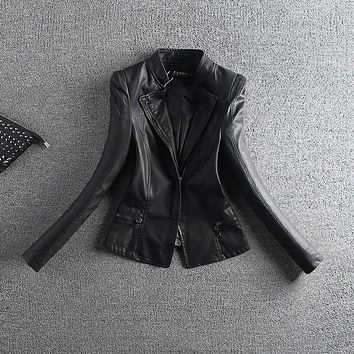 Spring Autumn PU Leather Jacket Women Leather Overcoat Blazer Jacket Casual Punk Jaqueta De Couro Motorcycle Biker Coat AE482
