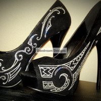 Custom Polynesian Inspired Bling Shoes by DaedreamDesigns on Etsy