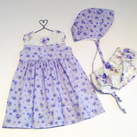 12 month baby girl purple floral dress set baby bonnet infant dress first birthday special occasion sunday best baby sun bonnet