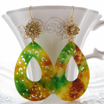 Carved jade earrings, green drop earrings, multicolor gemstone jewelry, burma jewels, dangle, Made in Italy Sofia's Bijoux