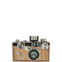 Judith Leiber Click Camera Crystal Minaudiere, Jet Multi