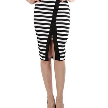 Black White Front Split Stripy Midi Skirt