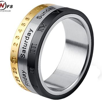 NFS 3In1 Titanium Stainless Steel Rotatable Week Calendar Date Ring Men's Silver Gold Black Rings Engagement Men Jewelry Punk