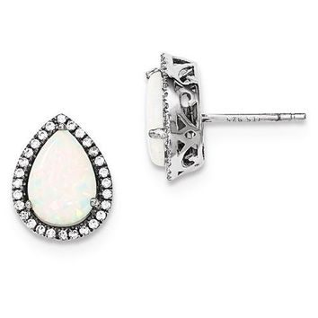 Sterling Silver Created Opal Pear Teardrop & CZ Halo Earrings