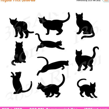 50% OFF Sale 10 Cat Silhouette PNG Clipart, Cat Silhouette Clip Art, Digital Black Cat, Scrapbooking, Cat Shadow, Animal Clipart Download