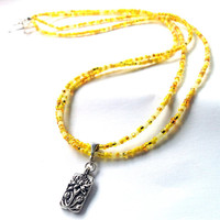 Lotus Flower Necklace - Yellow Sunshine Double Strand Beaded Necklace