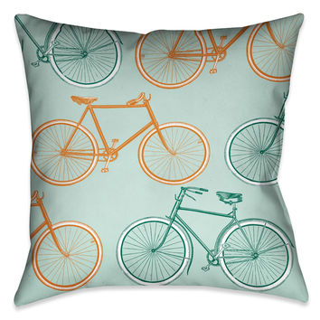 Postcard From Europe Bikes Indoor Decorative Pillow