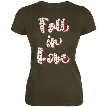 ICIK8UT Autumn Fall in Love Leaves Pattern Juniors Soft T Shirt