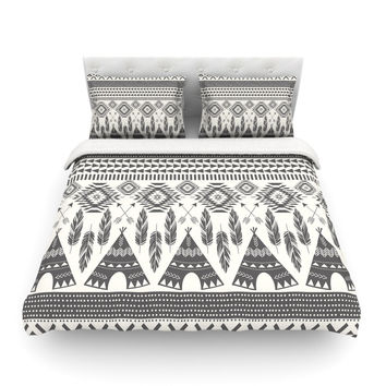 "Amanda Lane ""Native Roots"" Brown Gray Featherweight Duvet Cover"