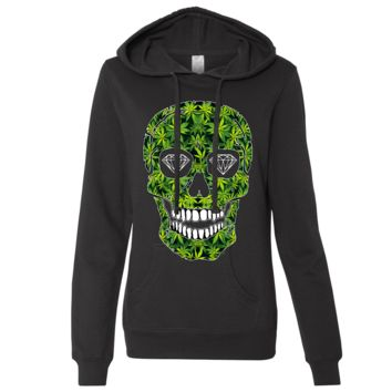 Diamond Eyes Pot Leaf Skull Ladies Lightweight Fitted Hoodie