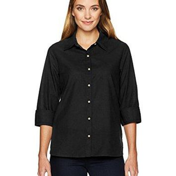 Chic Classic Collection Womens Button Front 34 Sleeve Woven ShirtSolid