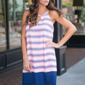 Sea What You've Done Dress, Pink-Navy