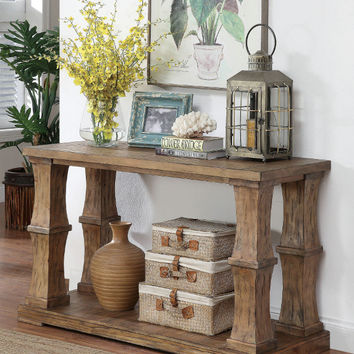 Furniture of america CM4457S Granard antique oak finish wood sofa table