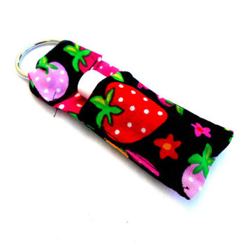 Red and Pink Strawberries Chapstick Keychain - Strawberry Lip Balm Holder Cozy