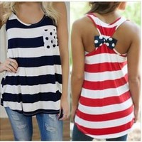 Summer Stylish Comfortable Hot Beach Bralette Sexy Women's Fashion Hot Sale Stripes With Pocket Butterfly Vest [6461551489]