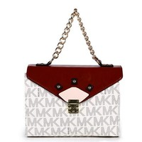 MICHAEL KORS Lash package Woman shoulder shopping leather metal chain bag White