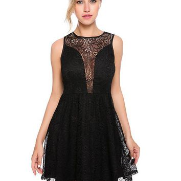 Maya Mini Lace Dress - Black
