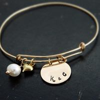 Personalized Gold Bangle Bracelet, Monogram Initial Bangle, Name Bracelet, Alex and Ani Style