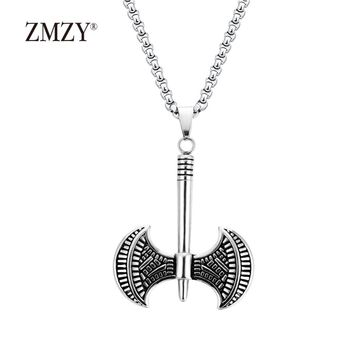 ZMZY Vintage Viking Axe Pendant Jewelry Handmade Tomahawk Stainless Steel Necklace Courage Pendants Fashion