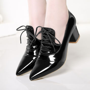 Women Pumps High Heels Thick Heel Patent Leather Lace Up Pointed Toe Shoes Woman 3432