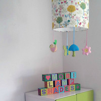 Enchanted forest nursery lampshade -  baby girl nursery -  Perfect present for baby girl shower, girl's first birthday, new mums