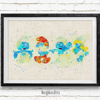 The Smurfs Framliy Watercolor Art Print, Kids Decor, Wall Art, Home Decor, Not Framed, Buy 2 Get 1 Free!