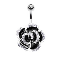 BodyJ4You Rose Petal Belly Button Ring Hematite Jeweled