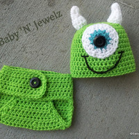 Crochet Mike Inspired Monster Inc.. Outfit -- Photo Prop Set -- Hat, Diaper -- MADE TO ORDER -- 0-3 Month only